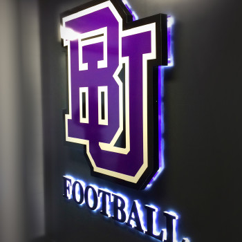 Bishop's University 3D backlit sign for football locker room