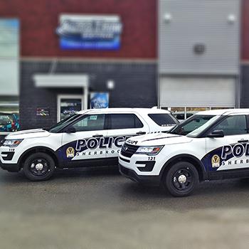 Lettrage des Explorer de la Police de Sherbrooke