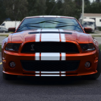 White stripe on orange Mustang