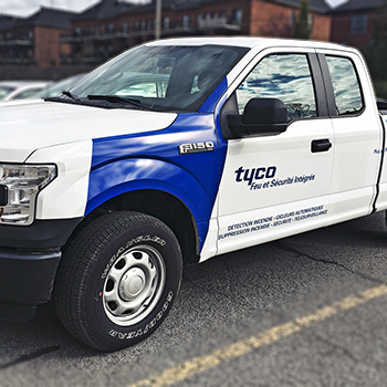 Lettering on pick-up for Tyco